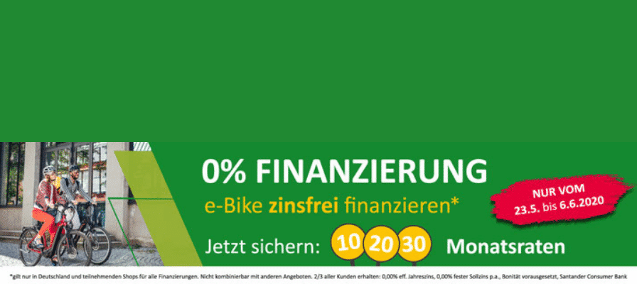 Wunsch e-Bike zinsfrei finanzieren in noch kleineren Monatsraten